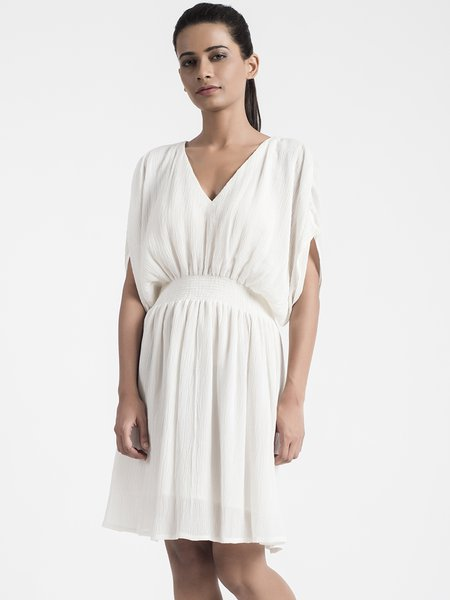 Elegant Gathered Cotton V Neck Batwing Midi Dress
