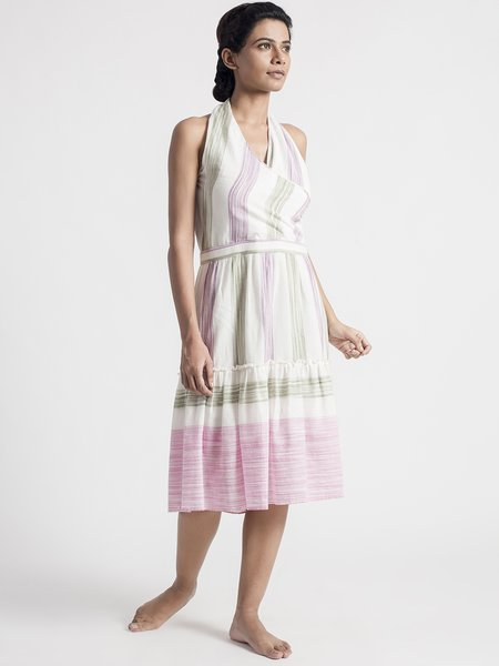 A-line Stripes Halter Sleeveless Elegant Wrap Dress