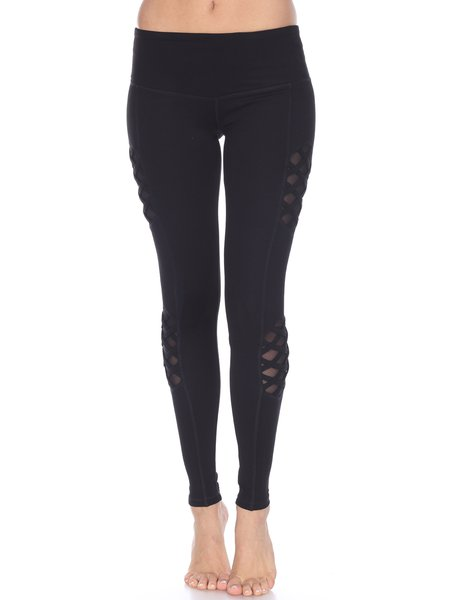 Black Slightly Stretchy Cotton Bottom Leggings