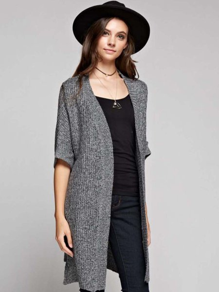 Gray Casual Solid Knitted Cardigan