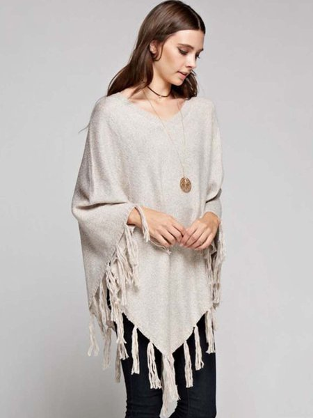 Beige Casual Solid Asymmetrical Fringed Poncho
