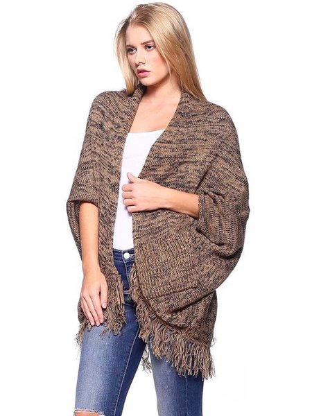 Khaki Casual Fringed Cotton-blend Cardigan