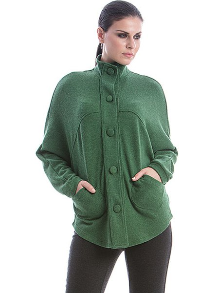 Green Solid Long Sleeve H-line Knitted Coat