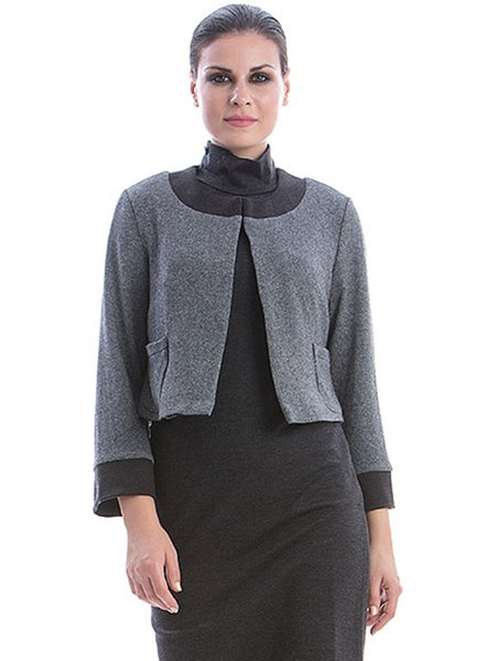 Gray Solid Long Sleeve Knitted Knitted Cropped Jacket