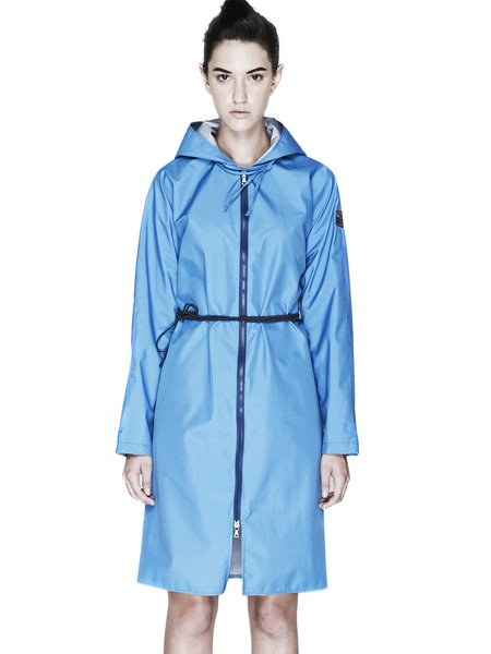 Light Blue Long Sleeve Zipper H-line Nylon Coat