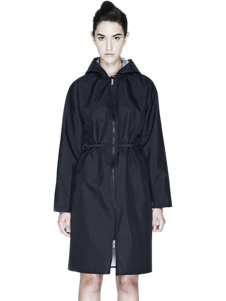 Black Nylon Long Sleeve H-line Solid Coat