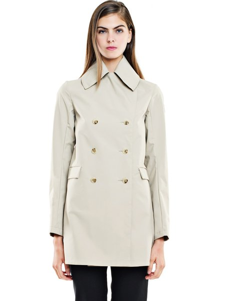Beige H-line Casual Shirt Collar Buttoned Coat