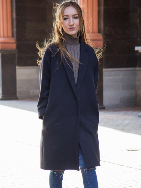 Deep Gray Wool H-line Simple Coat