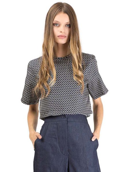 Dark Blue Casual Plain H-line Silk Cropped Top