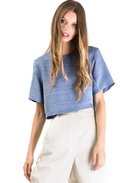Short Sleeve Simple Silk Cropped Top