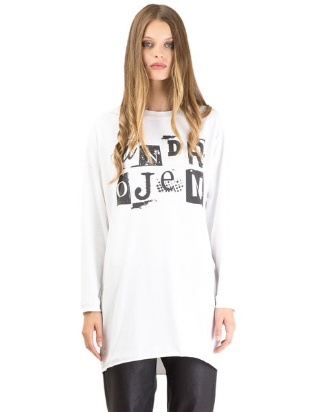 White Cotton-blend Letter Long Sleeve Tunic
