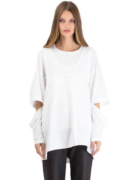 White Crew Neck Printed Long Sleeve T-Shirt
