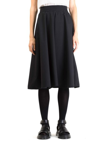 Black Simple Cotton-blend A-line Midi Skirt