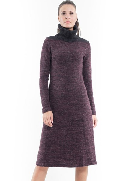 Brown Cowl Neck Wool Blend Paneled Casual Midi Dress