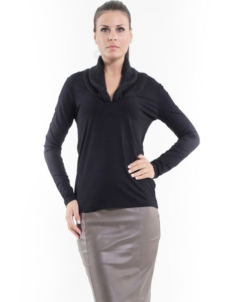Black Paneled Long Sleeve V Neck Long Sleeved Top
