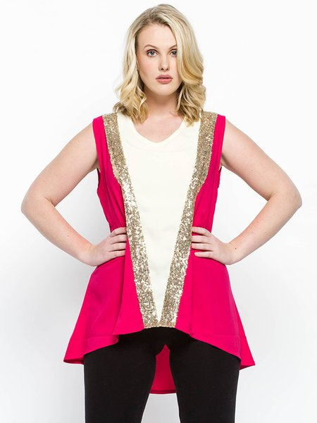 Fuchsia Asymmetrical Polyester Crew Neck Casual Tanks