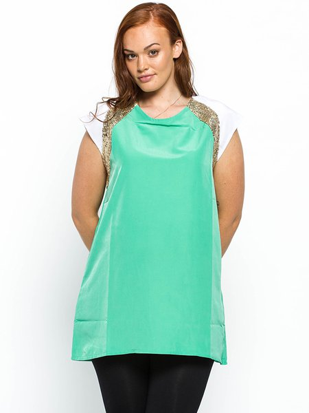 Green Polyester Glitter-finished Short Sleeve Blouse