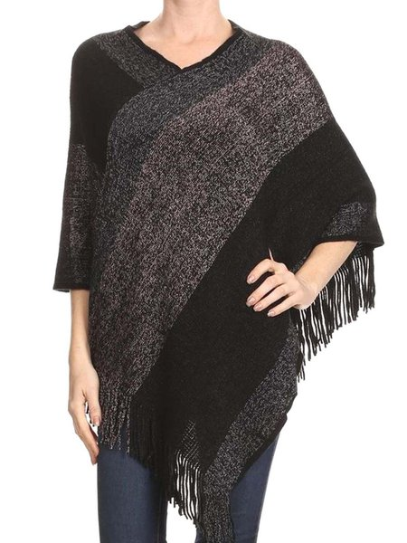 Asymmetrical Half Sleeve Fringed Casual Poncho
