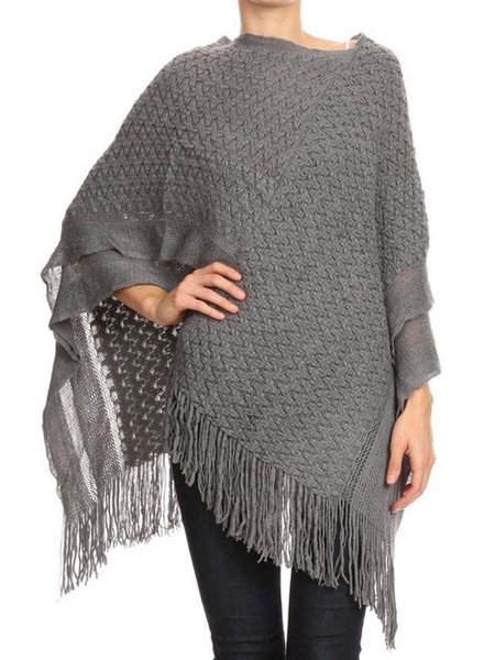 Deep Gray Cotton-blend Asymmetrical Casual Solid Poncho