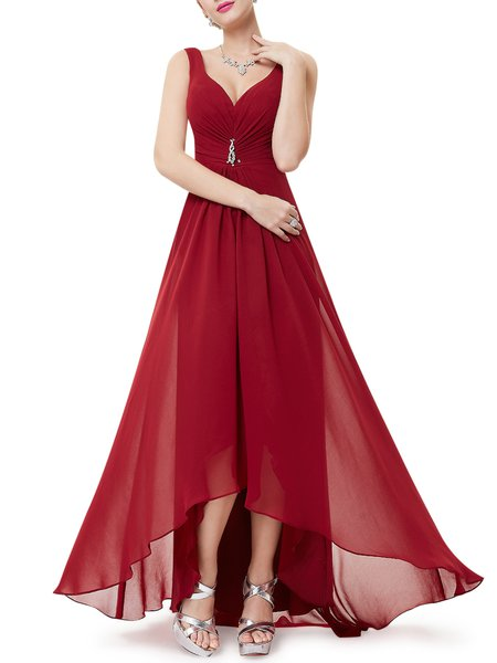 Solid Sleeveless Gathered Plunging Neck Evening Dress