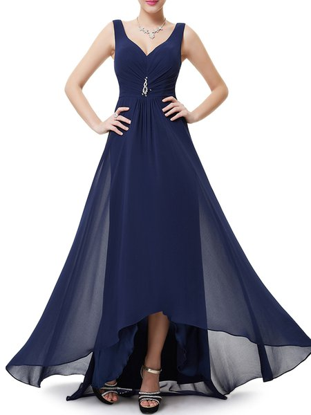 High Low Gathered Sleeveless Solid Evening Dress