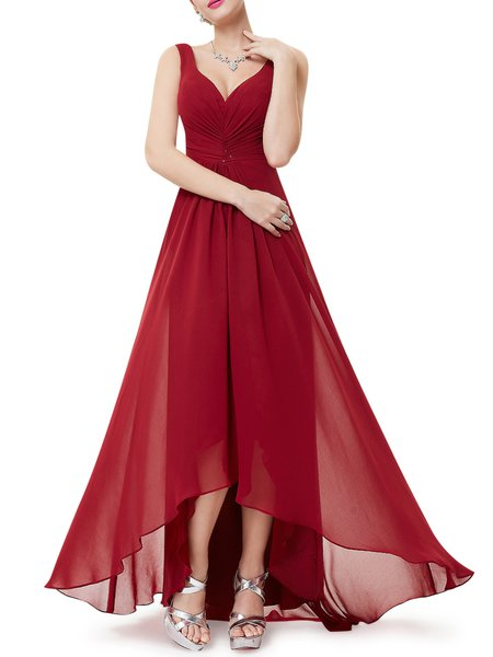 Solid Sleeveless Gathered Plunging Neck Evening Dress