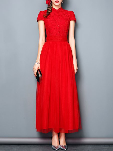 Red Guipure Lace Stand Collar Short Sleeve Maxi Dress