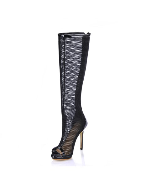 Black Stiletto Heel Spring/Fall Mesh Hollow-out Boots
