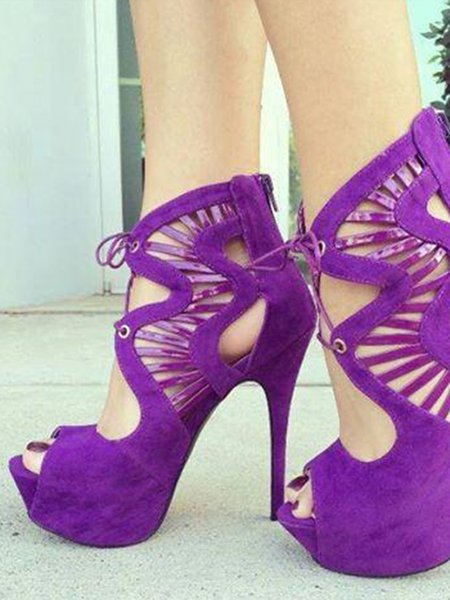 Purple Party & Evening Lace-up Spring/Fall Suede Platform Sandals