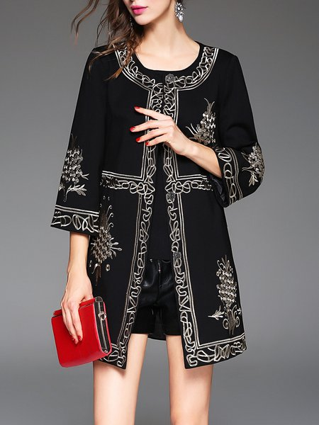 Black 3/4 Sleeve A-line Embroidered Coat