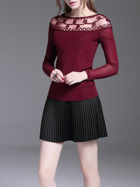 Wine Red Casual Plain Long Sleeved Top