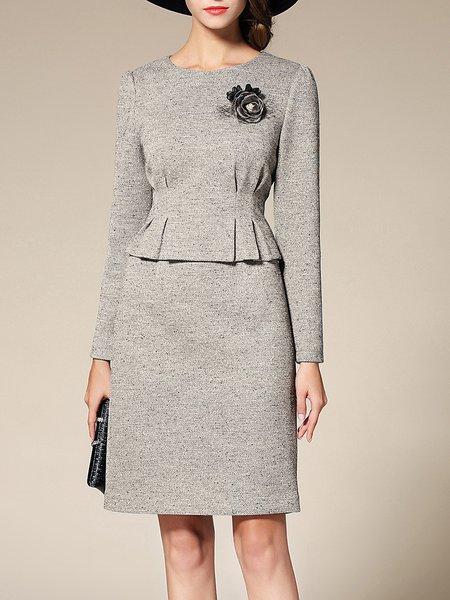 Gray Crew Neck Ruched Two Piece Elegant Midi Dress