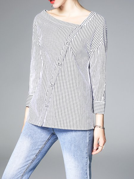White 3/4 Sleeve Stripes Buttoned Printed H-line V Neck Top