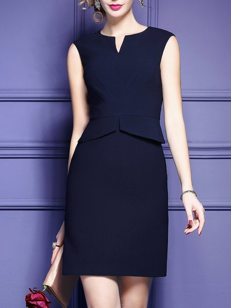 Dark blue Midi Dress Sheath Daily Sleeveless Solid Dress