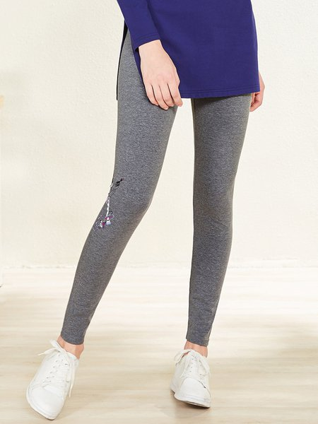 Printed Casual Cotton-blend H-line Leggings