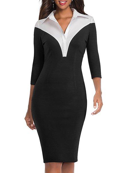OL Color-block Paneled Shirt Collar Plus Size Sexy Wrap Dress
