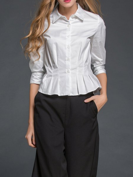 White Pleated 3/4 Sleeve Blouse
