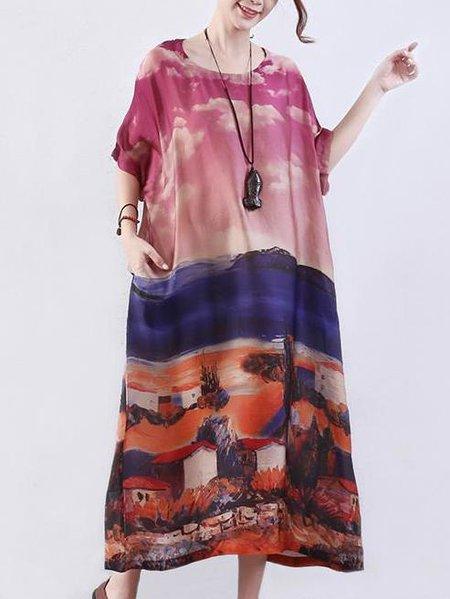 Casual Short Sleeve H-line Linen Dress
