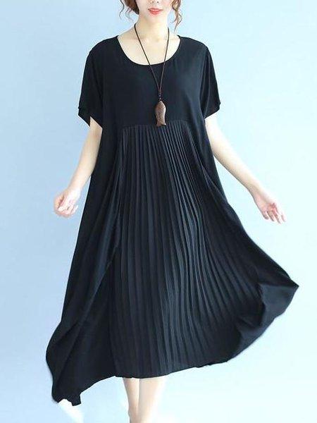 Short Sleeve Casual Solid A-line Linen Dress