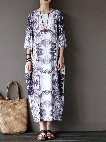 Plus Size 3/4 Sleeve Casual Printed Cocoon Linen Linen Dress