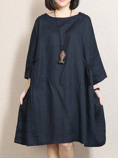 Solid Long Sleeve Casual Shift Linen Dress