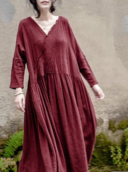 Crimson Long Sleeve Swing Linen Dress