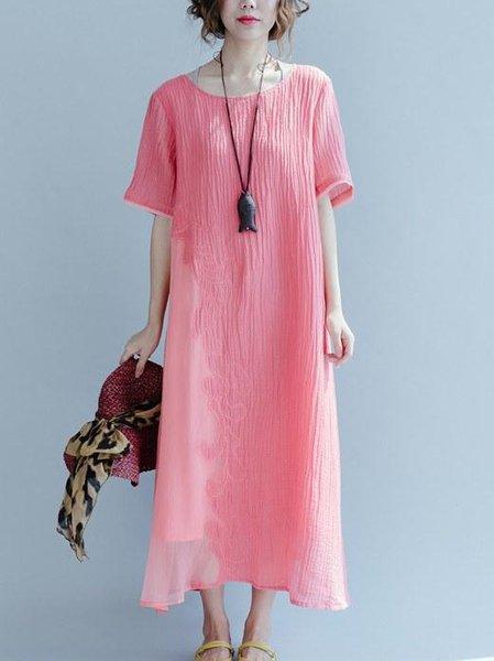 Half Sleeve Casual Linen Linen Dress