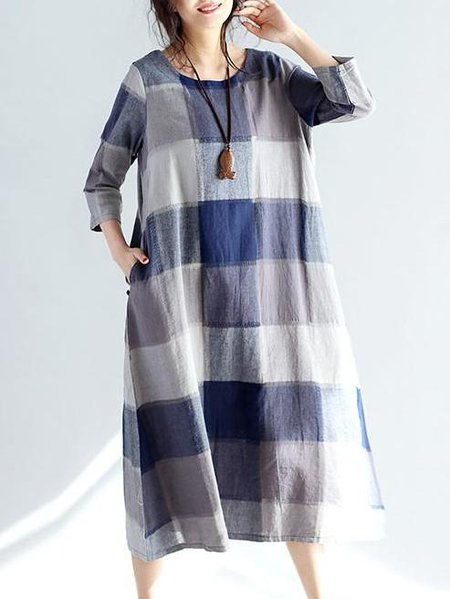 Blue Crew Neck Shift Cotton Casual Linen Dress