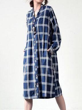 Blue Stand Collar Shift Cotton Long Sleeve Linen Dress