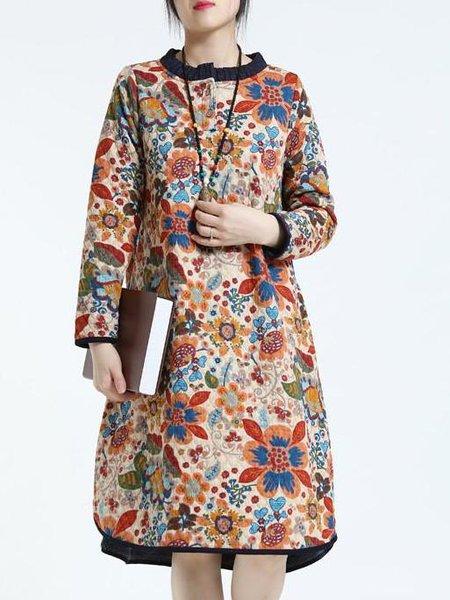 Floral Long Sleeve Casual Linen Linen Dress