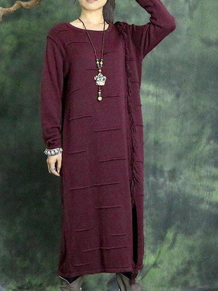 Crimson Shift Casual Cotton Linen Dress
