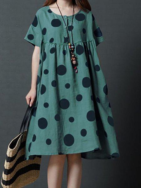 Crew Neck Casual Polka Dots Linen Dress