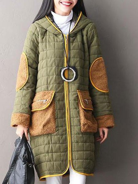 Casual Polyester Hoodie Long Sleeve Cocoon Linen Outerwear