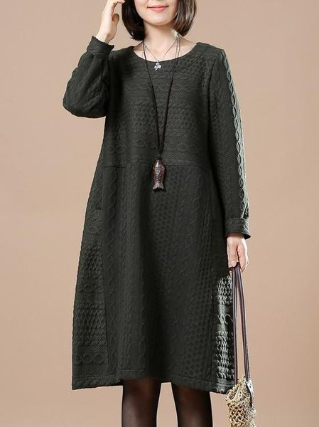 Dark Green Crew Neck Cotton Shift Casual Linen Dress